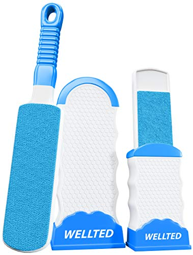 WELLTED 2020 Updated Pet Hair Remover Brush - Lint Brush - Fur Remover - Fur & Lint Removal - Dog & Cat Hair Remover - Double-Sided Brush with Self-Cleaning Base - for Furniture Clothing Car Seat
