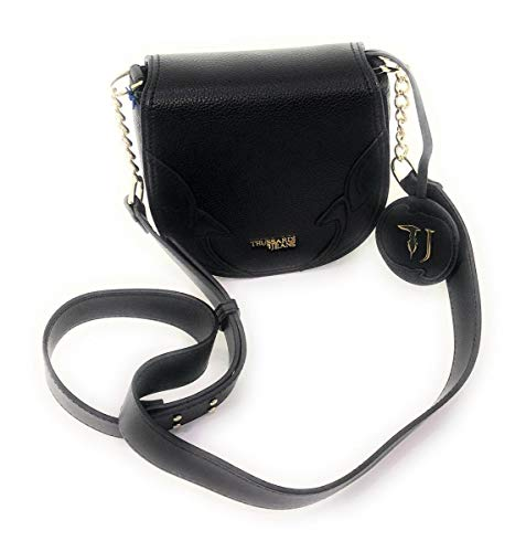 Trussardi Jeans mini Borsa a tracolla in ecopelle nero,con logo oro .Chiusura borsa con patta e bottone magnetico. 18 x 19 x 6 cm