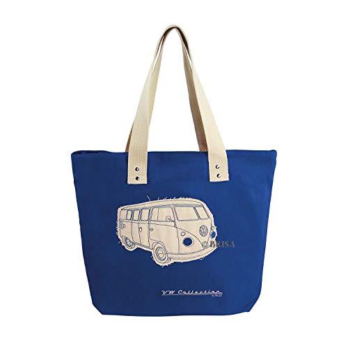 BRISA VW Collection - Volkswagen Furgoneta Hippie Bus T1 Van Bolsa de Playa Vintage de Canvas (Algodón), Bolso de mano, Bolsa de hombro, Tote bag, Shopper bag para Compras (Azul/Beige)