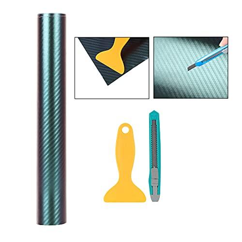 Bosuya Auto Folie Carbon Folie Chameleon Lackschutzfolien Tönungsfolie 300 * 30cm für Auto Folien Selbstklebend Flexibel Folie Grün zu Blau