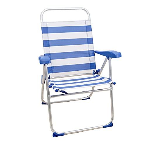 Sedie da Spiaggia, Sedia da Spiaggia Portatile, Pieghevole, in Alluminio, con Cuscino (1 Unidad, Righe Gialle E Blu Chiaro)