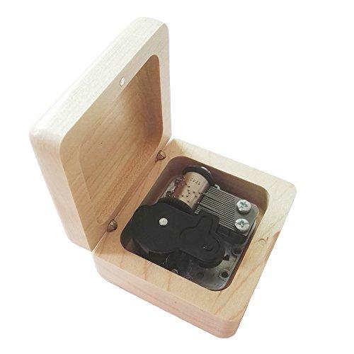 FnLy Caja Musical de Madera con 18 Notas, diseño Retro, con Movimiento Chapado en Plata, Caja de Regalo de música, Caja de música con temática de la Bella y la Bestia