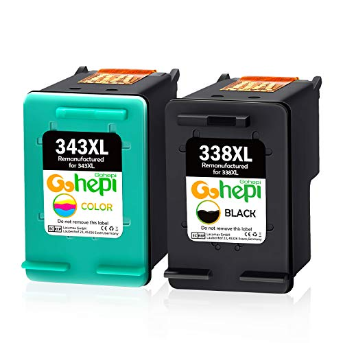 Gohepi 338XL 343XL Cartuchos de tinta Remanufacturado HP 338 343 Compatible para HP Photosmart 8150 2575 C3180,HP PSC 1610 2350 2355,HP Deskjet 5740,HP Officejet H470 150 100(1 Negro,1 Tri-color)