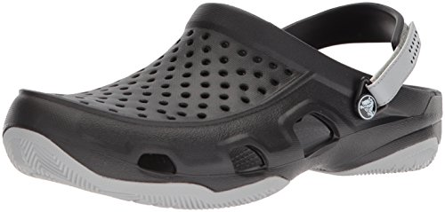 Crocs Swiftwater Deck Clog Men, Hombre Zueco, Negro (Black/Light Grey), 41-42 EU