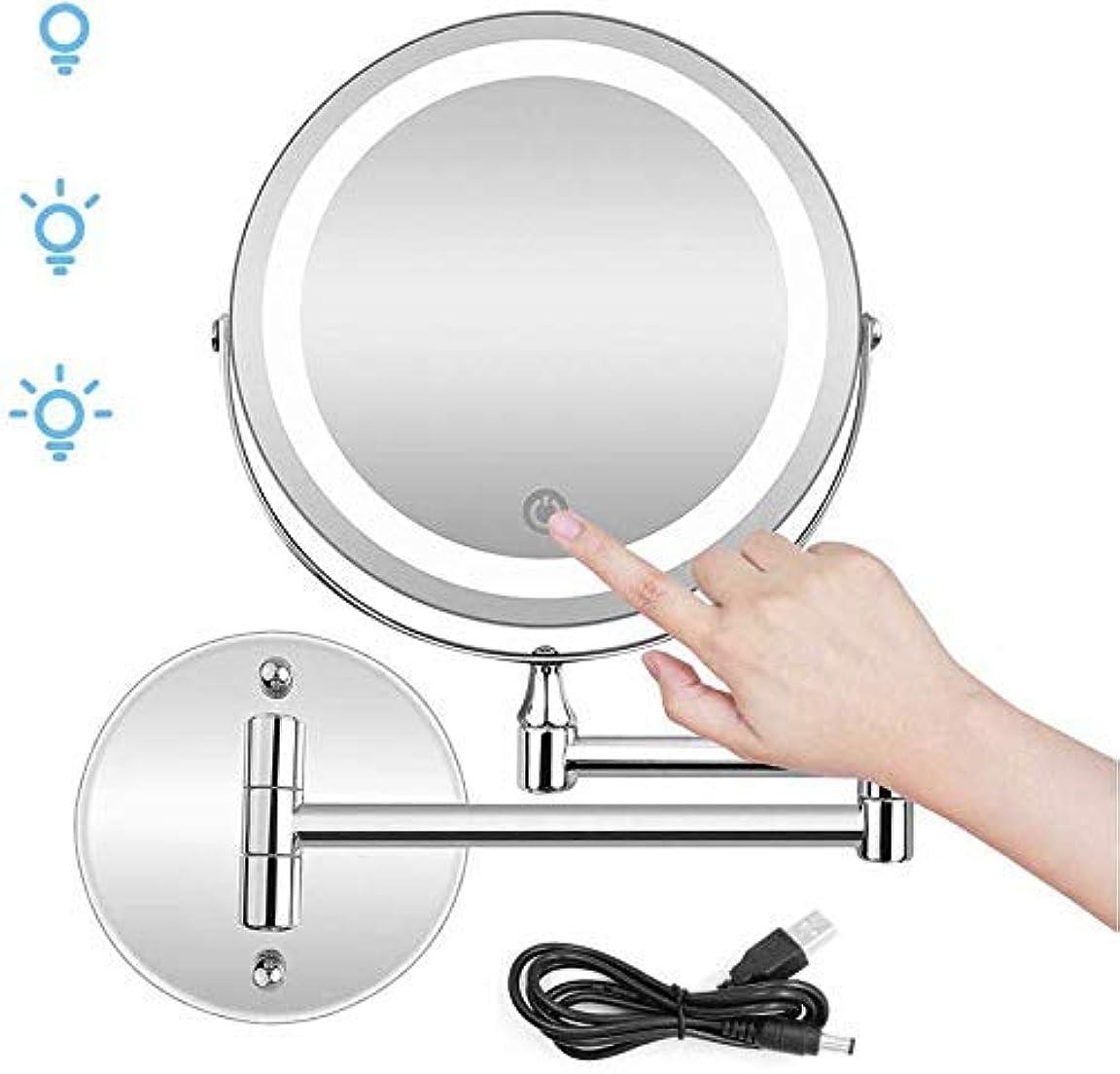 一見誘うカリング化粧鏡、10X拡大LED両面壁バスルームミラータッチスクリーン/ USBまたはAAA電池ダブルソース 卓上ミラー
