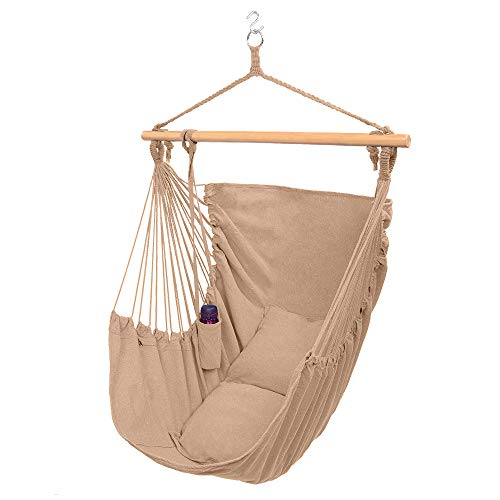 ONCLOUD XXL Large Hanging Rope Hammock Chair Porch Swing with 2 Pillows Hanging Hardware and Drink Holder Perfect for Indoor/Outdoor Home Bedroom Patio Deck Yard Garden Coffee