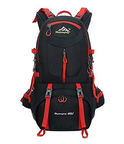 Nylon Sac à Dos de randonnée - 40L / 50L / 60L Homme Femme Sport Trekking Voyage Camping, Noir, 40L