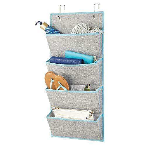 mDesign étagère suspendue en fibre synthétique sans perçage – rangement suspendu avec 4 grandes poches – étagère murale pour chambre d'enfants, chambre à coucher, etc. – gris/turquoise