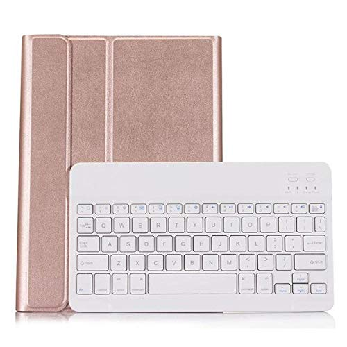 longeg Funda de Teclado Bluetooth para Galaxy Tab A7 10.4 Pulgadas 2020 T505 T500 PU Cubierta DE Cuero DE Cuero PU con Teclado inalámbrico Bluetooth (Color : RG-White)