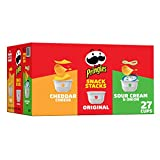 Pringles Snack Stacks Potato Crisps Chips, Flavored Variety Pack, Original, Cheddar Cheese, Sour Cream and Onion, 19.3 oz (27 Cups)