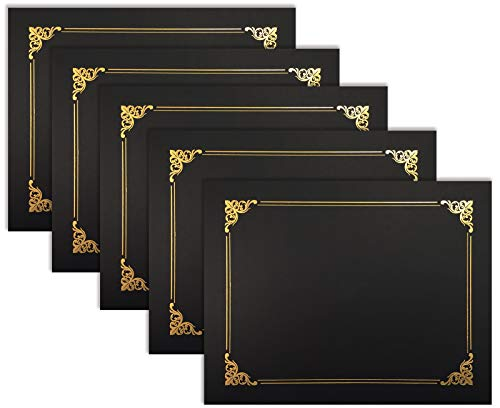 25 Pack Black Certificate Holders, Diploma Holders, Document Covers with Gold Foil Border, by Better Office Products, for Letter Size Paper, 25 Count, Black