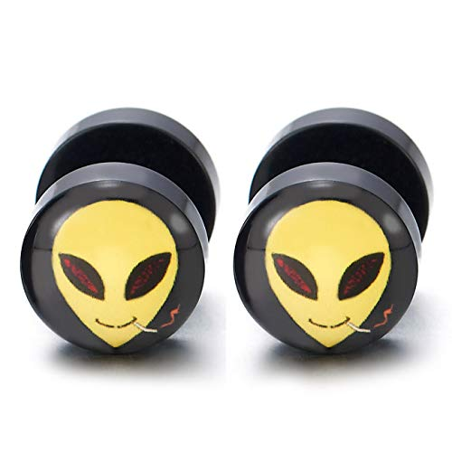 Amarillo Fuma Alien Negro Círculo Pendientes de Hombre Mujer, Aretes, Acero Enchufe Falso Fake Cheater Plugs Gauges