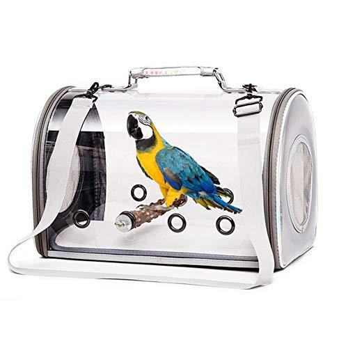 HMMJ Leichte Vogelträger, Vogel Travel Cage PVC Transparent Breath Parrot Handtasche mit einem Pfeffer-Stick for Pet Parrot Katze Kaninchen (Color : Silver)