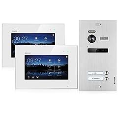 BALTER EVO Video Door Intercom - Pekskärm 7 tum Bildskärm - Dörrstation för 2 familj hus dörrklocka - 2-trådS BUS - 150 ° vidvinkelkamera