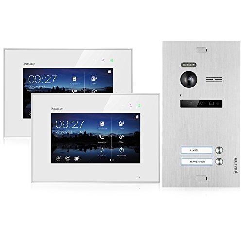 BALTER EVO Video Türsprechanlage ✓ Touchscreen 7 Zoll Monitor ✓ Türstation für 2 Familienhaus Türklingel ✓ 2-Draht BUS ✓ 150° Weitwinkel-Kamera