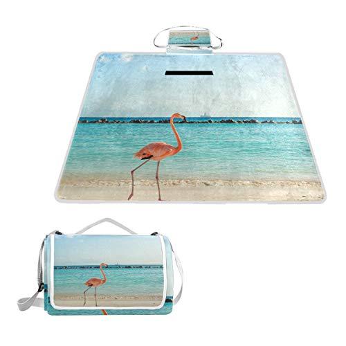 LZXO Jumbo-Picknickdecke, faltbar, Tier-Flamingo, Meeres-Druck, groß, 145 x 150 cm, wasserdicht, handliche Matte, Tragetasche, kompakte Outdoor-Matte mit Griff für Outdoor-Reisen, Camping, Wandern.