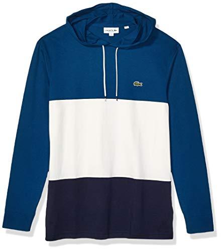 Lacoste Mens Long Sleeve Colorblock Jersey Hooded T-Shirt T-Shirt, Navy Blue/Flour/Raffia Matting, XXL