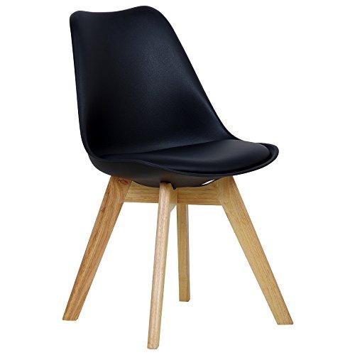WOLTU BH29sz-1 1 x Esszimmerstuhl 1 Stück Esszimmerstuhl Design Stuhl Küchenstuhl Holz Schwarz