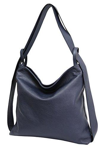 AmbraModa Italienische Ledertasche, Damen handtasche rucksack 2 in 1 Damenrucksack Daypack Schultertasche Damen Handtasche Beutel GL019, Dunkelblau, XL