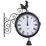 LNIM Reloj de pared de doble cara, resistente a la intemperie para interior y exterior, estación de tren de jardín, estación de Paddington, vintage, reloj de cuarzo con soporte exterior, 30*37*9cm