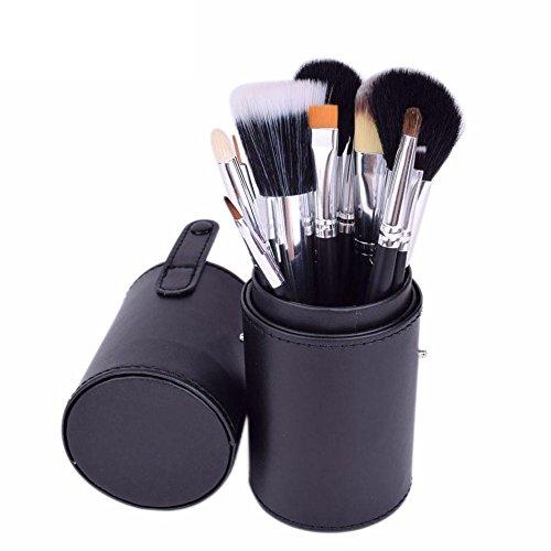 Pinceaux de maquillage Marque 12 pcs Maquillage Brosses Kit Titulaire Tube Pratique Portable Tasse En Cuir Naturel Cheveux Synthétique Duo Fiber Studio J1204MCB Brosses et outils de maquillage des yeu