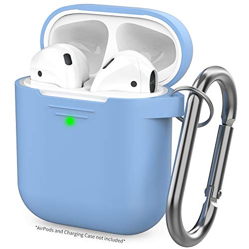 AhaStyle Upgraded AirPods Case Silicone Protective Cover [Front LED Visible] Compatible with AirPods 2 and 1(Sky Blue)