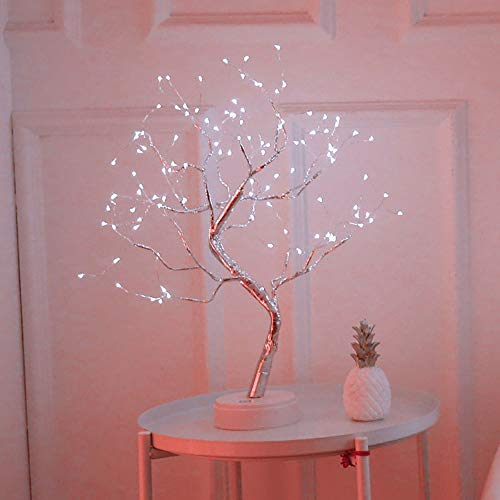 AEUWIER Tabletop Bonsai Tree Light, Fairy Light Spirit Tree, 108 LED Twig Tree with Lights up 20 Inches Tree Pre Lit Birch Tree USB & Battery Operated for Indoor Decoration