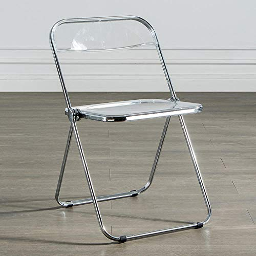 KLJLFJK Silla plegable transparente silla respaldo hogar silla comedor silla de cristal acrílico taburete-transparente color A