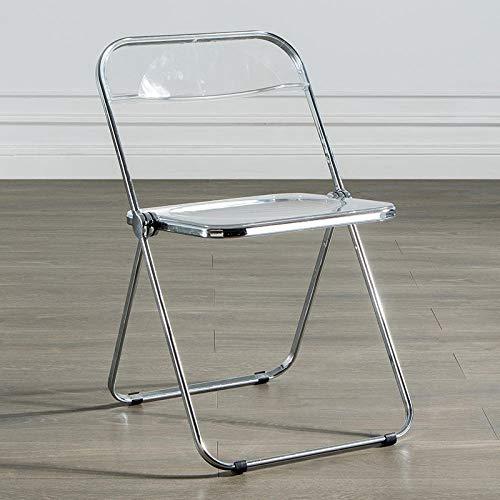 KLJLFJK Silla plegable transparente silla respaldo hogar silla comedor silla de cristal acrílico taburete-transparente...