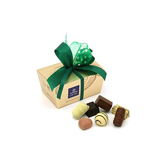 Leonidas Pralinen | 240g handverlesene belgische Pralinen Mischung mit individuell handgefertigter Schleife in goldenem Pralinen Ballotin, ideal als Geschenk oder zum Selbernaschen (Dunkelgrün)