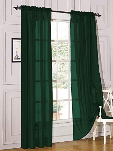 """Decotex 2 Piece Sheer Voile Light Filtering Rod Pocket Window Curtain Panel Drape Set Available in a Variety of Sizes and Colors (54"""" X 108"""", Hunter Green)"""