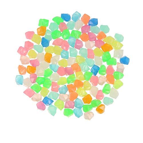 300 Stücke Leuchtsteine Leuchtende Kieselsteine Fluoreszierende Steine Garten Dekorative Steine für Gehwege Outdoor Decor Aquarium Pfad Rasen Garten (Bunt)