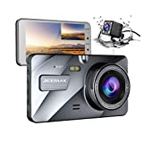 【Upgraded 720P Rear】 Jeemak Dual Dash Cam 4 Inches LCD 1080P Dashboard Camera with Night Vision Waterproof Backup Camera G-Sensor Parking Monitor