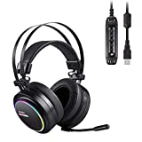 AUKEY Cuffia Gaming Headset Cuffia USB Surround 7.1 con Microfono, Controllo Volume ed Effetto RGB...