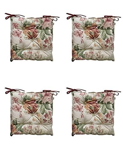 textile4home Juego de Cuatro Cojines Cuadrados para Silla Gloria Rosas/Medidas: 40x40 cm / 85% algodón, 15% poliéster/Relleno de Fibra Hueca
