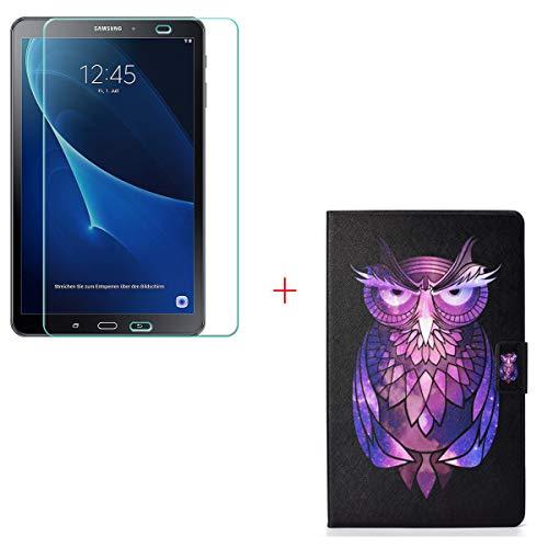 """szjckj Protector de Pantalla + PU Carcasa para Samsung Galaxy Tab 3 Lite 7.0"""" SM-T110 Tablet, Funda Protectora con Función de Soporte - HD Cristal Vidrio Templado Protector - LW24"""