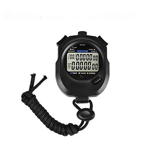 ZoSiP Digital Sport Stoppuhr Timer 10 Runden Speicher Schwarz Digitale Stoppuhr for Trainings-Schwimmen Jogging Fitness Basketball (Color : Black, Size : 8.2x6.2x2.0cm)