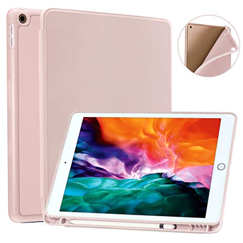 SIWENGDE Compatible for iPad Air 3 Case with Pencil Holder, Slim Lightweight Stand TPU Smart Protective Case Cover for Apple iPad Air 3rd Generation 10.5' 2019 Case, Auto Sleep/Wake (Pink)