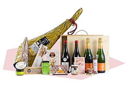 Cesta de Navidad - Regalos Empresa -Lote El Sabio, Jamón ibérico, cava, vino, turrón, conservas, chocolate, productos artesanales
