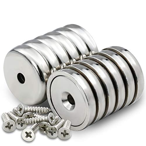 DIYMAG Neodymium Round Base Cup Magnet,60LBS Strong Rare Earth Magnets with Heavy Duty Countersunk Hole and Stainless Screws for Refrigerator Magnets,Office,Craft,etc-Dia 0.98 inch-Pack of 12