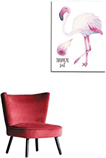 longbuyer Art Decor Decals Stickers Watercolor Hand Painted Tropical Pink Flamingo and Calla Lily Flower Isolated on White Background Mural 24