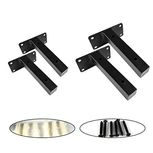 Qiundar Soporte Baldas Flotantes,4Pcs Soporte Para Estanterías de Metal Escuadra Balda Negra Escuadra Estanteria Metalica Invisible Hierro(15cm y 20cm)