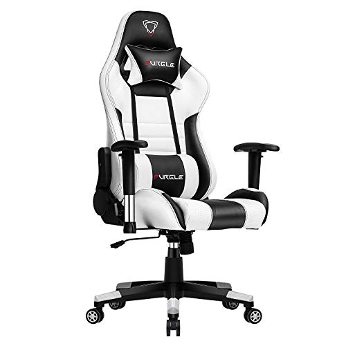 Furgle Gaming Chair Racing Style High-Back Office Chair with 3D Adjustable Armrests PU Leather Executive Ergonomic Swivel Video Game Chairs with Headrest and Lumbar Support (White & Black) black chair gaming