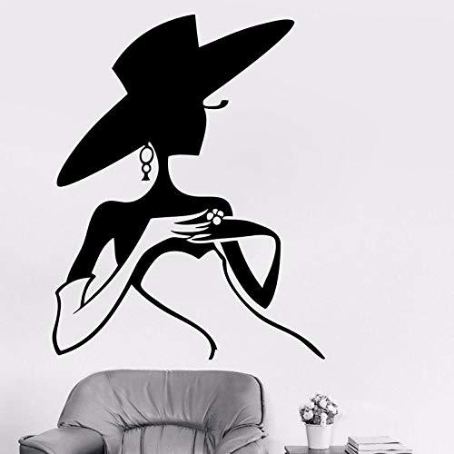 Estilo de moda Elegante Mujer Señora Sombrero Vestido Tienda de ropa Vinilo Etiqueta de la pared Calcomanía Dormitorio Sala de estar Tienda de ropa Estudio Decoración para el hogar Mural