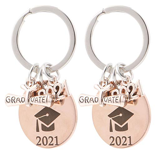 VALICLUD Graduation Party Supplies Graduation Gifts 2021 Metal Keychain Keyring Accessory for Graduates 2Pcs