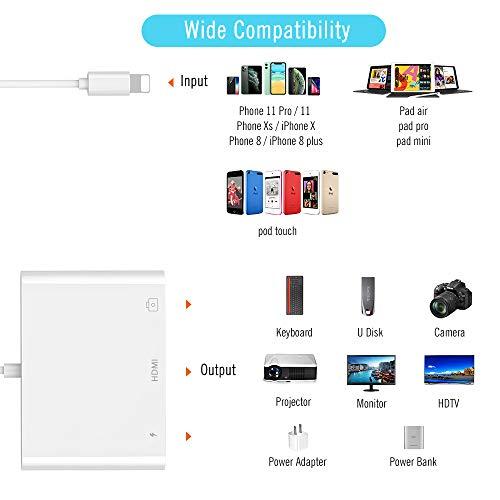 HOPLAZA HDMI Adapter Kompatibel mit iPhone, 3 in 1 Phone zu HDMI Adapter Kabel mit USB OTG Buchse, 1080P Digital AV Adapter Phone USB OTG Anschluss für Phone 11 / XS/X / 8/7/6 / Pad Air/Mini