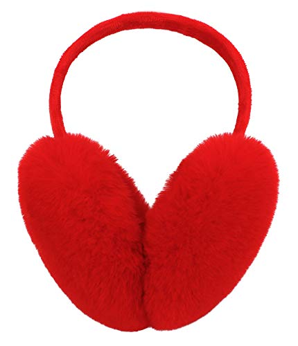 Simplicity Adorable Faux Fur Furry Heart Print Soft Earmuffs, Red