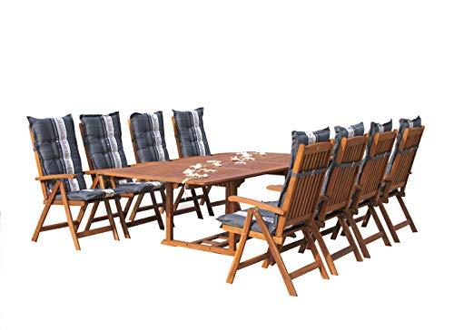 GRASEKAMP Qualität seit 1972 Garten Möbelgruppe Cuba 17tlg Premium Grey mit ausziehbaren Tisch