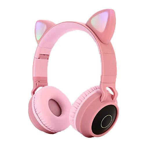 MMSD Bluetooth Headphones,Wireless Headphones,Headphone Over Ear,Kids Headphones,Cat Ear LED Light Up Bluetooth Foldable Headphones