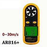 Anemometer,Pocket Wind Speed Gauge Air Flow Thermometer Wind Speed Meter,AR816+